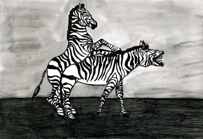 Mit Streifen   Tusche auf Papier, A3, 2008