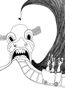 Auf nach China! | Filzschreiber auf Papier, 21 x 29,7 cm, 2019